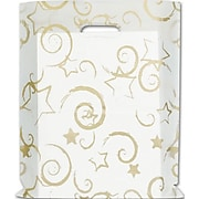 """Bags & Bows® 12"""" x 15"""" Stars Frosted High Density Merchandise Bags, Gold, 500/Pack"""