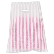 """Bags & Bows® 12"""" x 15"""" Stripe Frosted High Density Merchandise Bags, White, 500/Pack"""