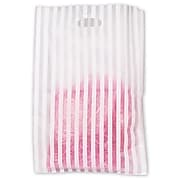 "Bags & Bows® 14"" x 3"" x 21"" Stripe Frosted High Density Merchandise Bags, White, 500/Pack"