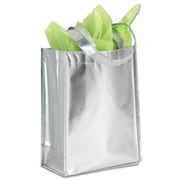 "Bags & Bows® 9 1/4"" x 4 1/2"" x 12"" Center Stage Metallic Non-Woven Totes, Silver, 100/Pack"