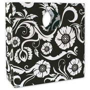 "12"" x 4"" x 12"" Bloomin' Love Mod Bag Medium Shoppers, White on Black"