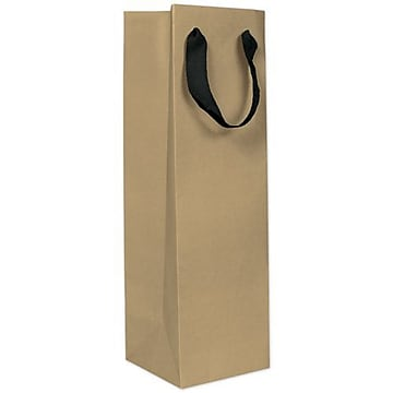 15″ x 4 1/2″ x 4 1/2″ Matte Manhattan Eco Euro-Shopper Wine Bottle Bags, Kraft