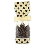 """Polypropylene 10.75""""H x 2.63""""W x 1.88""""D Cello Bags, Brown Dots on Cream, 100/Pack"""