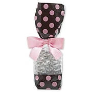"""Bags & Bows® 2"""" x 1 7/8"""" x 9 1/2"""" Cello Bags, Brown and Pink, 100/Pack (65-DLN1-DOTBP)"""