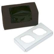 """Bags & Bows® 8"""" x 4"""" x 4"""" 2 Cup Windowed Standard Cupcake Boxes"""