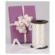 "Bags & Bows® 3/8"" x 250 yds. Splendorette® Curling Fashion Dots Ribbon, White, RL"
