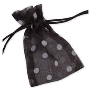 "Fabric 4""H x 3""W Organdy Bags, White Dots on Black, 12/Pack"