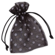 "Fabric 6""H x 4""W Organza Bags, White Dots on Black, 12/Pack"
