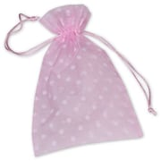 "Fabric 10""H x 6""W Organdy Bags, White Dots on Pink, 12/Pack"