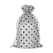 "Fabric 10""H x 6""W Organdy Bags, Black Dots on White, 12/Pack"
