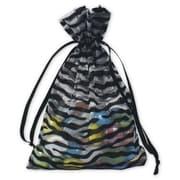 "Zebra Organza Fabric 6""H x 4""W Gift Bags, Black/White, 12/Pack"