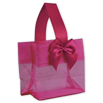 "3 1/4"" x 3 1/4"" x 2"" Satin Bow Mini Totes, Pink"