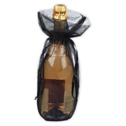 "Organza Fabric 15""H x 6.5""W Solid Wine Bags, Black, 10/Pack"