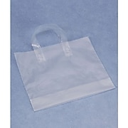 "Bags & Bows® 16"" x 15"" + 6"" BG Frosted Economy Shoppers, Clear, 250/Pack"