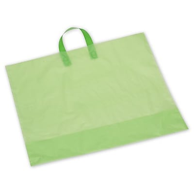 "22"" x 18"" + 8"" BG Frosted Economy Shoppers, Citrus Green (H18CG)"