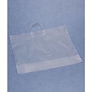 """Bags & Bows® 22"""" x 18"""" + 8"""" BG Frosted Economy Shoppers, Clear, 250/Pack"""