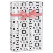 "24"" x 417' Squares Gift Wrap, White/Black/Silver"