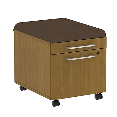 Bush 300 Series Mobile Pedestal with Cushion, Modern Cherry/Cocoa