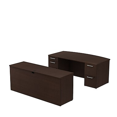 Bush Business 300 Series 72W x 36D Bow Front Double Pedestal Desk with 72W Credenza, Mocha Cherry, Installed