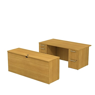 Bush Business 300 Series 72W x 36D Double Pedestal Desk with 72W Credenza, Modern Cherry, Installed