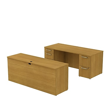 Bush Business 300 Series 72W x 30D Double Pedestal Desk with 72W Credenza, Modern Cherry, Installed