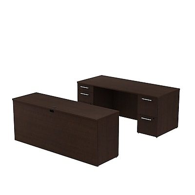 Bush Business Furniture Emerge 72W x 30D Office Desk with 2 Pedestals and 72W Credenza Installed, Mocha Cherry (300S022MRFA)