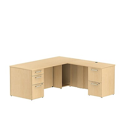Bush Business 300 Series 72W x 30D Single Pedestal Desk L-Config w/ 2 Drawer Pedestal, Natural Maple