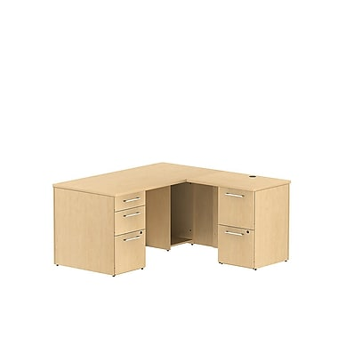 Bush – Bureau en L avec caissons de la collection Série 300, 59,6 x 59,6 x 29,1 (po), érable naturel