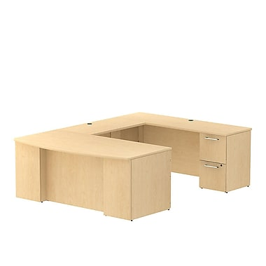 Bush Business 300 Series 72W x 36D Bow Front Desk in U-Configuration with 2 and 3 Drawer Pedestals, Natural Maple, Installed