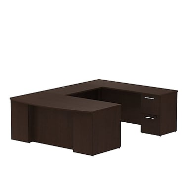 Bush Business 300 Series 72W x 36D Bow Front Desk in U-Configuration with 2 and 3 Drawer Pedestals, Mocha Cherry, Installed