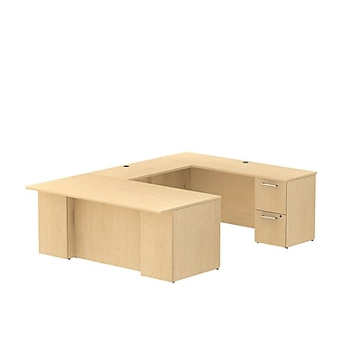 Bush Business 300 Series 72W x 36D Desk in U-Configuration with 2 and 3 Drawer Pedestals, Natural Maple, Installed