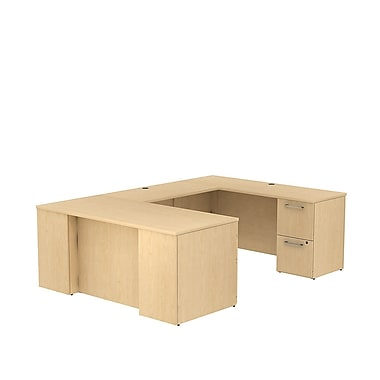 Bush Business Furniture Emerge 66W x 30D U Shaped Desk with 2 Pedestals Installed, Natural Maple (300S031ACFA)