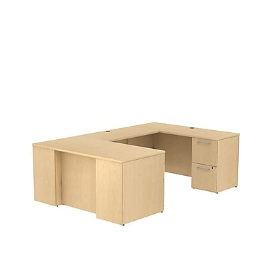 Bush Business Furniture Emerge 60W x 30D U Shaped Desk with 2 Pedestals Installed, Natural Maple (300S032ACFA)
