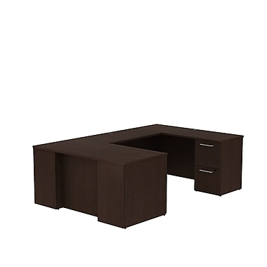 Bush – Bureau en U avec caissons de la collection Série 300, 59,6 x 93 x 29,1 po, cerisier moka