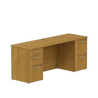 Bush Business 300 Series 72W x 22D Double Pedestal Desk, Modern Cherry, Installed