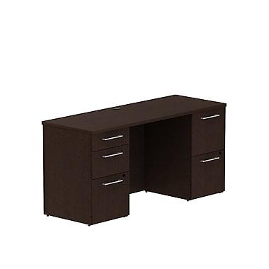 Bush Business 300 Series 60W x 22D Double Pedestal Desk, Mocha Cherry, Installed
