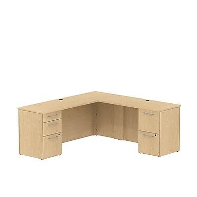 Bush Business 300 Series 72W x 22D Single Pedestal Desk in L-Configuration with 3 Drawer Pedestal, Natural Maple, Installed