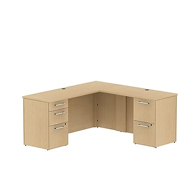 Bush Business 300 Series 66W x 22D Single Pedestal Desk in L-Configuration with 3 Drawer Pedestal, Natural Maple, Installed