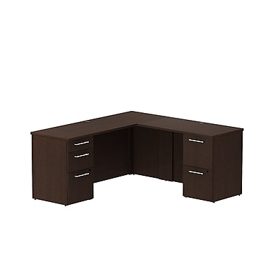 Bush Business 300 Series 66W x 22D Single Pedestal Desk in L-Configuration with 3 Drawer Pedestal, Mocha Cherry, Installed