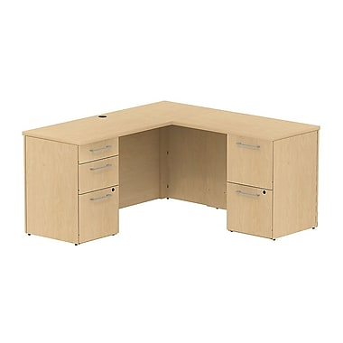 Bush 300 Series L-Shaped Credenza Desk with Storage, Natural Maple
