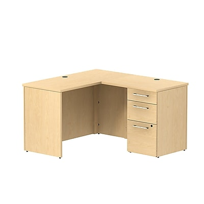 Bush Business 300 Series 48W x 22D Shell Desk in L-Configuration with 3 Drawer Pedestal, Natural Maple