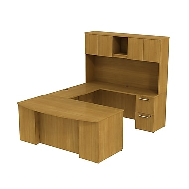 Bush Business 300 Series 72W x 36D Bow Front Desk in U-Configuration with Pedestals and Hutch, Modern Cherry, Installed