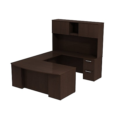 Bush Business Furniture Emerge 72W x 36D Bow Front U Shaped Desk with Hutch and 2 Pedestals, Mocha Cherry (300S041MR)