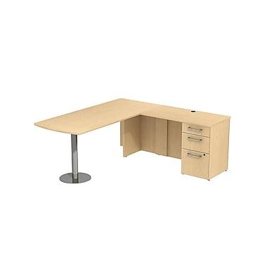 Bush 300 Series Peninsula Desk in L-Configuration with Pedestal, Natural Maple