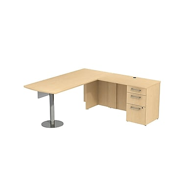 Bush 300 Series Peninsula Desk in L-Config with Glass Panel & Pedestal, Natural Maple