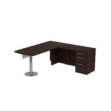 Bush 300 Series Peninsula Desk in L-Config with Glass Panel & Pedestal, Mocha Cherry