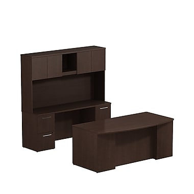 Bush 300 Series Double Ped Desk with Double Ped Credenza & Tall Hutch, Mocha Cherry