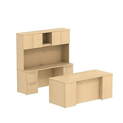 Bush Business Furniture Emerge 72W x 30D Office Desk with Hutch, Credenza and 2 Pedestals, Natural Maple (300S047AC)