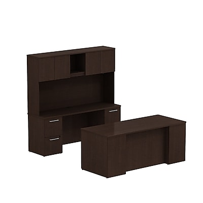 Bush Business 300 Series 72W x 30D Double Pedestal Desk with 72W Credenza and Hutch, Mocha Cherry