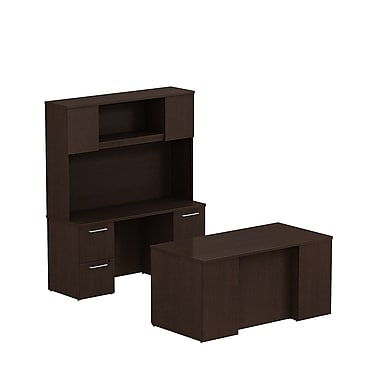Bush Business Furniture Emerge 60W x 30D Office Desk with Hutch, Credenza and 2 Pedestals Installed, Mocha Cherry (300S049MRFA)